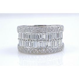 LeVian 18k White Gold Round & Baguette Diamond Wedding Band Ring 1.55 tcw