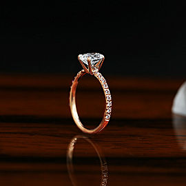 14k Rose Gold Engagement Ring features 1.33ct TCW Diamond