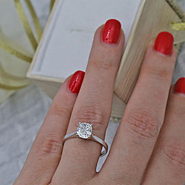 Platinum Engagement Ring features GIA Certified Round F color SI1 clarity DIA