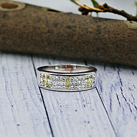 14k White Gold Mens Wedding Band Features Three Row of Princess 1.25ct TCW