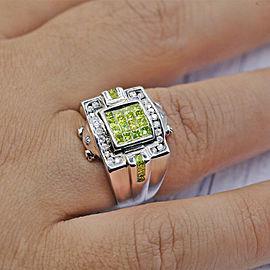 14k White Gold Mens Ring Features Princess Cut 1.50ct TCW Diamonds
