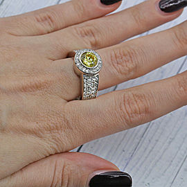 White Gold Cocktail Ring features Center Round cut Citrine w/ 1.50ct of TCW DIA