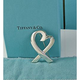 Tiffany & Co Silver Paloma Picasso Loving Heart Brooch Pin Excellent Condition