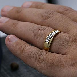 14k Yellow Gold Fashion Diamond Ring Features 7 Round Cut White 1.00ct Diamonds