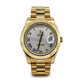 Men's Rolex Day Date II 18k Yellow Gold w/ Silver Roman Dial 218238