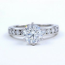 Tiffany & Co Platinum Diamond Engagement Ring Round Cuts 1.73 tcw