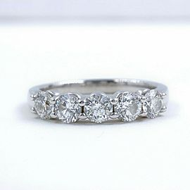 Round Diamond 5 Stone Wedding Band Ring 1.50 tcw set in 14kt White Gold