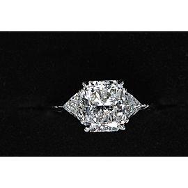 Tiffany & Co Platinum Diamond Engagement Ring 3 Stone Radiant Cut 3.03 tcw D VS1