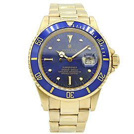 Mens' Rolex Submariner 18k Yellow Gold w/ Blue Dial 16808