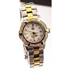 AUTHENTIC TAG HEUER AQUARACER WAF1450.BA0814 DIAMOND PEARL 18K GOLD LADIES WATCH