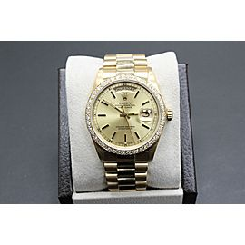 ROLEX PRESIDENT DAY DATE 18038 18K YELLOW GOLD CHAMPAGNE DIAL DIAMOND BEZEL