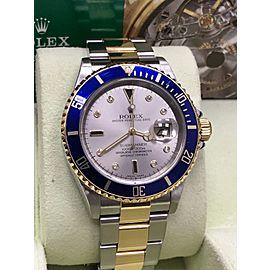 Rolex Submariner 16613 Silver Serti Diamond Dial 18K Yellow Gold & Steel
