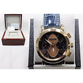 Tourneau Gotham 18K Rose Gold Limited Edition Blue & Rose Color Dial Box & Paper
