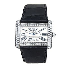 Cartier Tank Divan 18k White Gold Quartz Ladies Watch WA301370