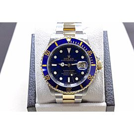 Rolex Submariner 16613 Blue 18K Yellow Gold & Stainless Steel New Style Buckle