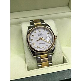 Rolex DateJust 116203 18K Yellow Gold & Stainless Steel White Dial Box & Papers