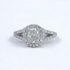 Cushion Halo Diamond Engagement Ring 1.55 tcw 14k White Gold