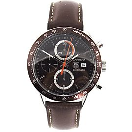 TAG HEUER CARRERA CV2013.FC6234 AUTO CHRONOGRAPH BROWN LEATHER WATCH