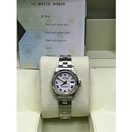 Rolex Ladies Datejust 79240 White Roman Dial Stainless Steel &18K