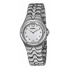 LADIES EBEL SPORTWAVE 9956K21 9811 MOTHER OF PEARL DIAMOND STEEL WATCH