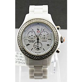 MICHELE LADIES JETWAY MWW17B000001 WHITE CERAMIC DIAMOND SWISS QUARTZ WATCH