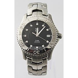 PRESTIGE TAG HEUER MENS LINK WJ1113.BA0575 DIAMOND DIAL STEEL MENS BLACK WATCH