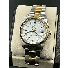 Rolex Date 15053 White Dial 18K Yellow Gold & Stainless Steel MINT