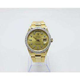 Rolex President Day Date 18038 18K Yellow Gold Champagne Diamond Dial & Bezel