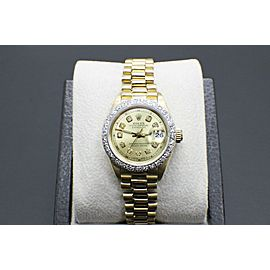 Rolex Ladies President Datejust 69178 Diamond Bezel & Champagne Diamond Dial