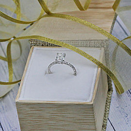 14k White Gold AGI Certified Engagement ring features 1.53ct TCW DIA