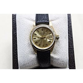 Rolex Ladies Date 69718 18K Yellow Gold with Leather Band