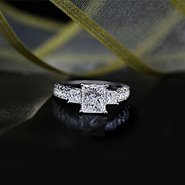 18k White Gold AGI Certified Engagement Ring featured with 3.00ct TCW Diamonds