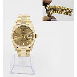 Rolex President Day Date 18038 18K Yellow Gold Champagne Diamond Dial