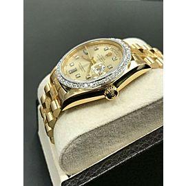 Rolex Day Date President 18078 Diamond Dial & Bezel 18K Yellow Gold Bark Finish