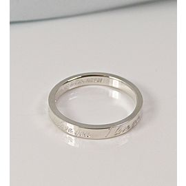 Tiffany Co Silver Notes Stacking Narrow Love Ring Band Size 6.5
