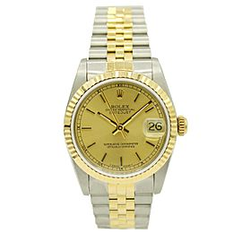 Ladies Rolex Datejust Two Tone Steel & Yellow Gold w/ Champagne Dial 68273