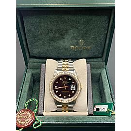 Rolex Datejust 16233 Black Diamond Dial Bezel 18K Yellow Gold Steel Box & Paper