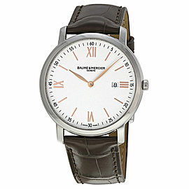 BAUME & MERCIER CLASSIMA 10181 MENS BROWN LEATHER ROSE GOLD WATCH