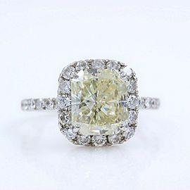 Radiant Diamond Engagement Ring Halo Design 4.61 tcw set in Platinum