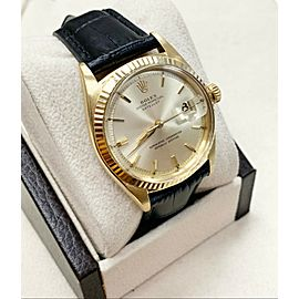 Vintage Rolex 1601 Datejust 18K Yellow Gold with Leather Band Circa 1959