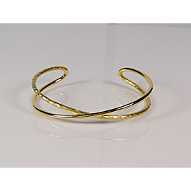 Tiffany & Co Paloma Picasso 18K Yellow Gold Hammered Crossover Cuff Bracelet