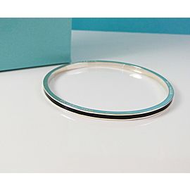 Tiffany & Co. Sterling Silver Black Stripe Striped Bangle Bracelet RARE SZ Small