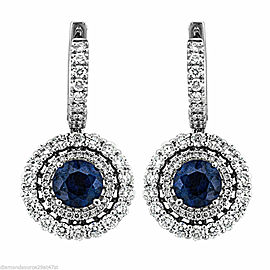 18k White Gold Earrings with 2.10ct Diamonds and Round Sapphires