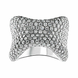 18kt White Gold Bone Shape Ring of 7.32ct diamonds