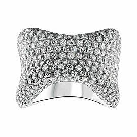 18kt White Gold Bone Shape Ring of 7.32ct diamonds