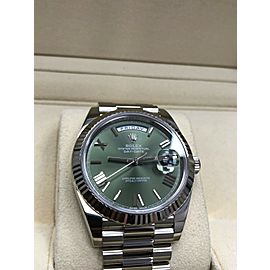 Rolex 228239 President Day Date 40mm 18K White Gold Green Dial Box & Papers 2017