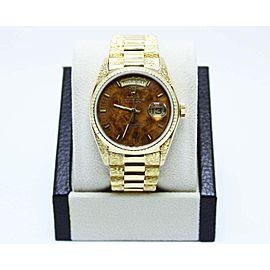 Rolex Day Date President 18038 Wood Walnut Dial 18K Yellow Gold Bark Finish Rare