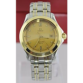 OMEGA SEAMASTER 2411.10 120M SWISS QUARTZ DATE 18K GOLD MENS CHAMPAGNE WATCH