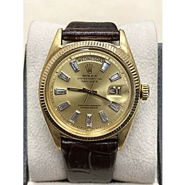 1947 Rare Vintage Rolex President Day Date 6611 Diamond Dial 18K Yellow Gold