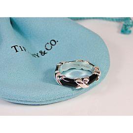 Retired Tiffany & Co. Signature X Black Enamel Ring Band Size 4